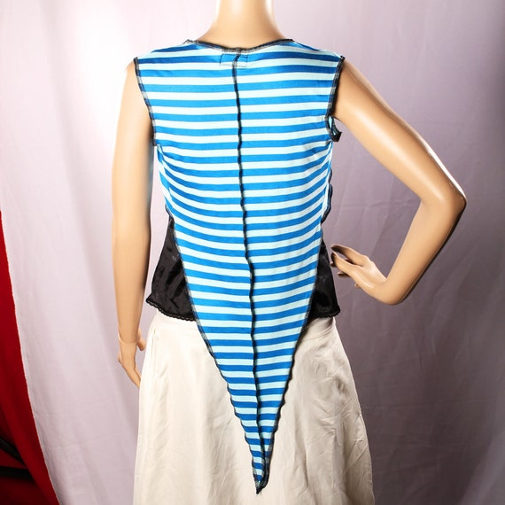 Sale. Carnival Stripe Vest Top Belly Dance, Long Pointy shrug Blue stretchy cotton shirt Bolero Gypsy Punk Pirate Pixie Fairy