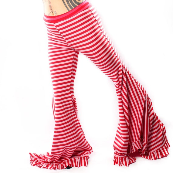 Belly Dance Wide Leg stripe PANTS. in Pink and Red Carnival Stripes Mermaid Shape Legs, high waist Gothic Festivals Lounge pants