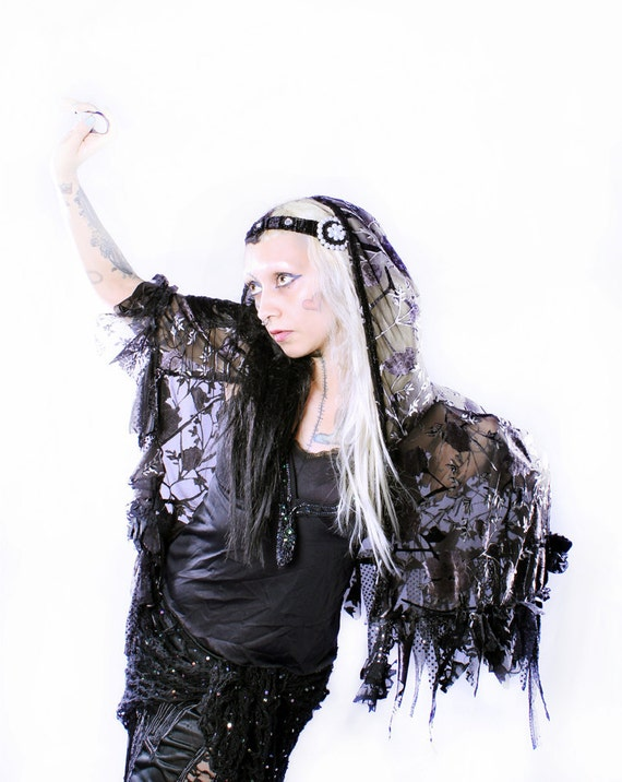 Tattered Hood Cape, Couture Gothic Capelet  Fantasy Dark Victorian Fairytale Cosplay Shrug Tattered WitchyOOAK