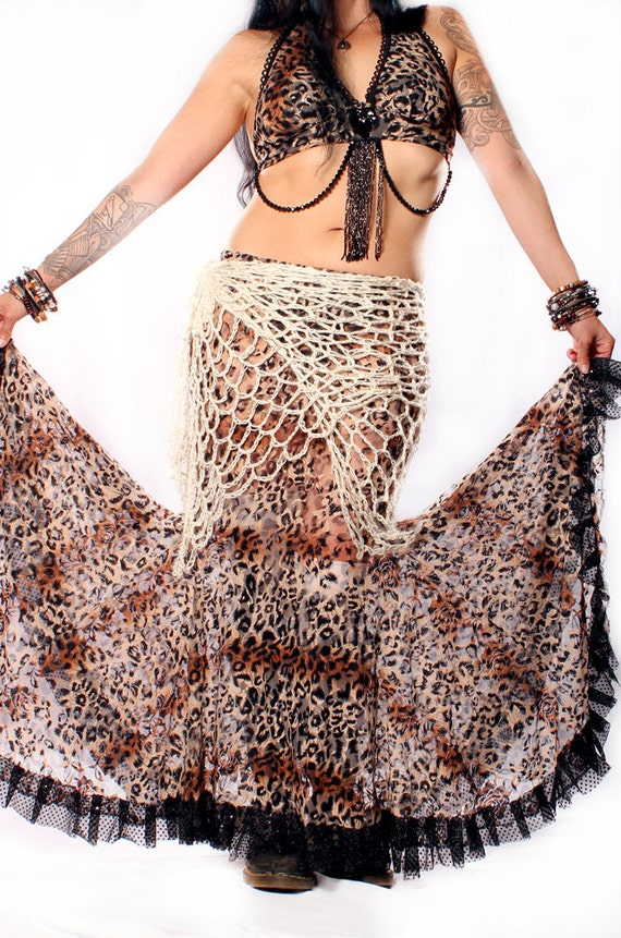 Gypsy Lace Skirt,  curvy long Mermaid shape style. Belly Dance flare black Ruffle Leopard exotic Cat Print