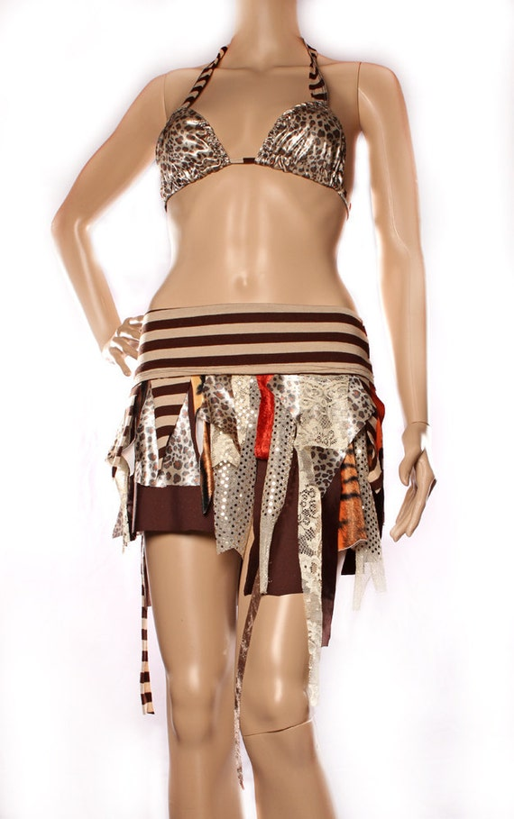 Tattered Mini Skirt - Hippy Boho Shimmy warm rich earth tones, rust orange brown cream, stripes Witchy Small Medium Live Free