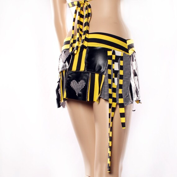 Micro Mini Skirt, Rock and Roll yellow black warrior skirt Cosplay Heart Patch Stripe punk rock Pirate playa wear Small