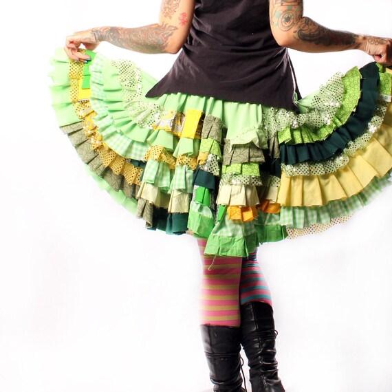 Lolita Circle Skirt. bright Green Yellow colors Patchwork Ruffles round full Mini twirl spin dance Gothic Victorian Princess