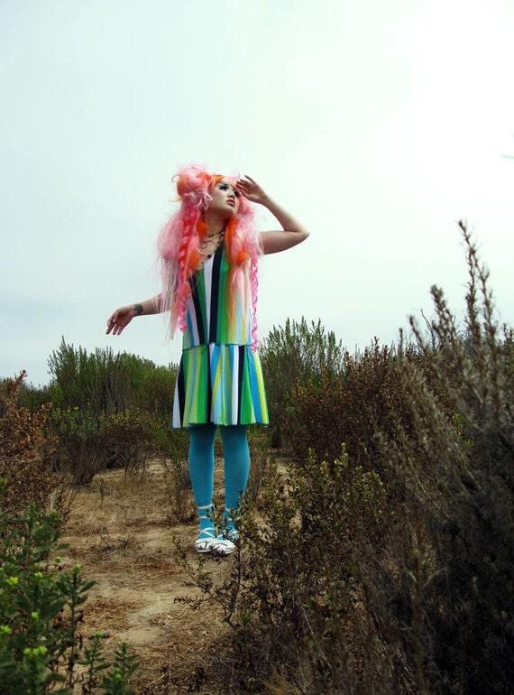 Blue Green Stripe Retro Dress. Hippy 70s Carnival Flower Child Costume Sundress Sale blue green wide stripes, open back
