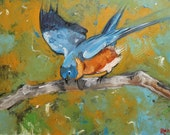 Bird 32 16x20 inch original oil painting by Roz