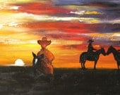 Cowboy 33 18x36 inch original oil painting by Roz SALE