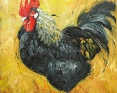 Rooster 508 10x10inch Print of oil painting by Roz