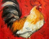 Rooster 522 10x10inch Print of oil painting by Roz