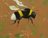 Bee painting 232 12x12 inch insect animal original oil painting by Roz