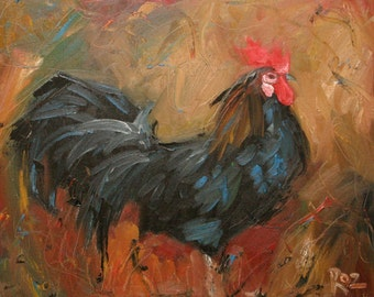 11x14 Print of oil painting Rooster139 by Roz
