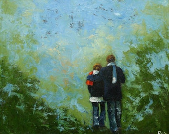 Commission your own Couple custom oil portrait painting by Roz