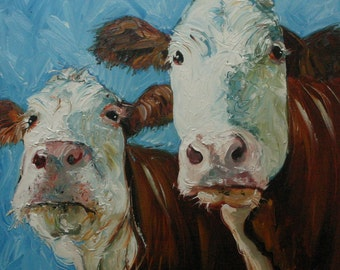 14x14 cow 94 Print of oil painting by Roz