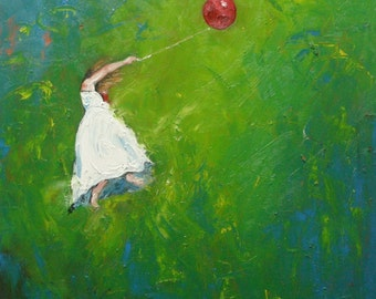 Print 14x14inch of leap33 from oil painting by Roz