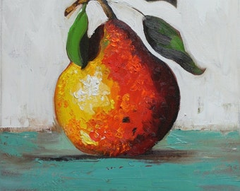 10x10 Print of oil painting Pear 17 by Roz