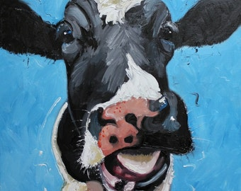 Print Cow 296 20x20 inch Print from oil painting by Roz