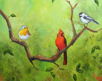 Birds 30 20x20 inch Print from oil painting by Roz