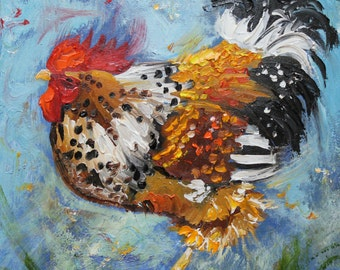 Rooster 475 10x10inch Print of oil painting by Roz