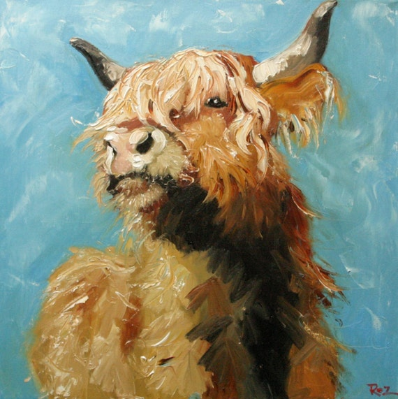 Cow 192 18x18 inch original oil painting by Roz