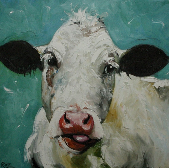 Cow 221 20x20 inch original oil painting by Roz