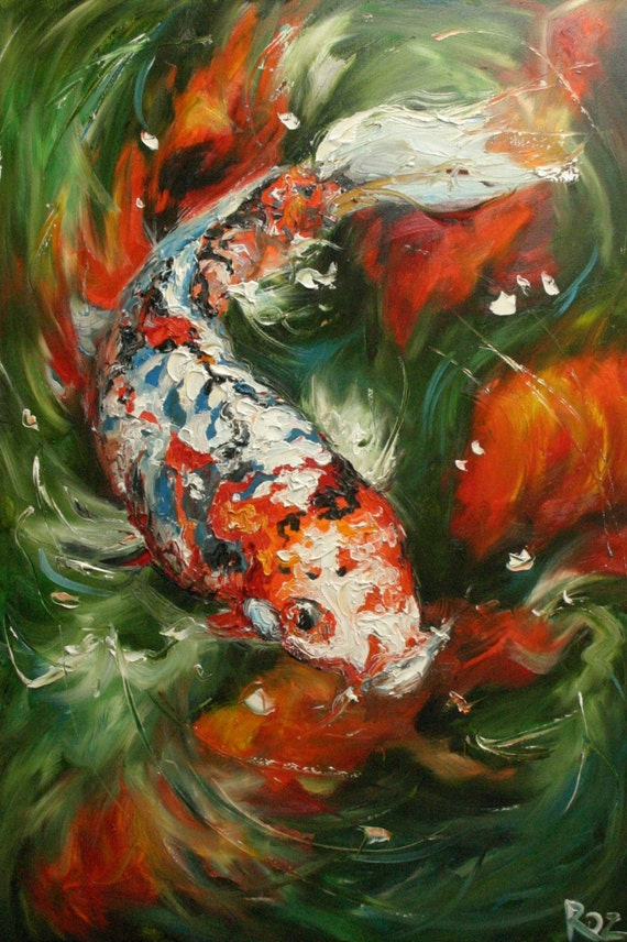 koi15 16x24inch print of oil painting by roz