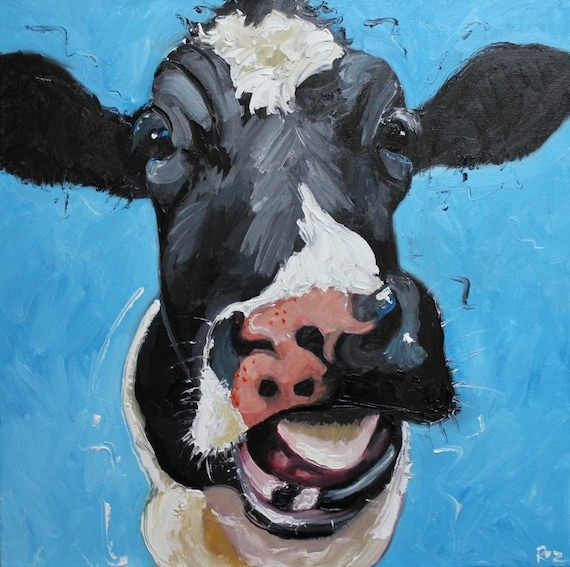 Print cow 296 20x20 inch print from oil painting by roz for Cow painting print