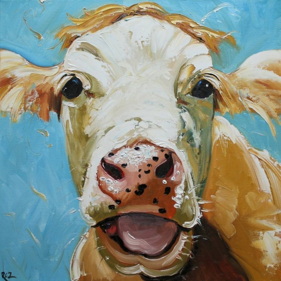 Print cow 310 20x20 inch print from oil painting by roz for Cow painting print