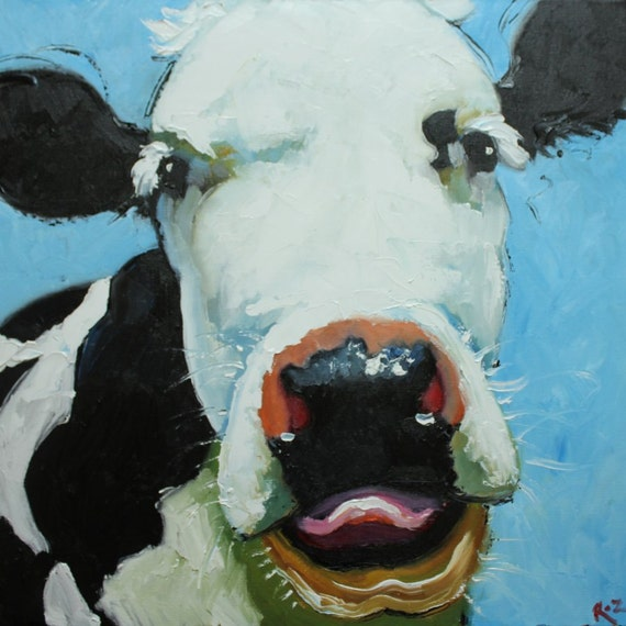 Cow 413 20x20 inch original oil painting by Roz