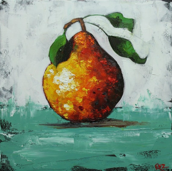 Easy Visual Arts: Pear Painting 35 18x18 Inch Original Oil Painting By Roz