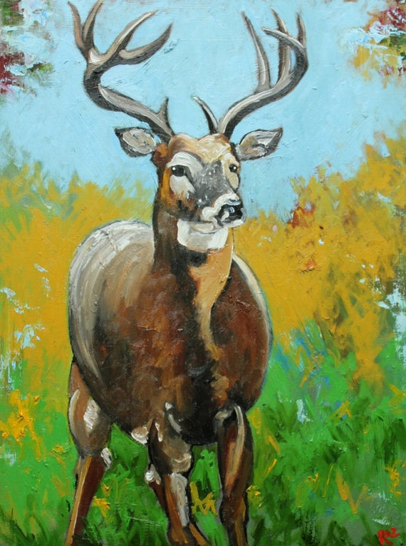 Deer 1 painting 18x24 inch original oil painting by Roz  SALE
