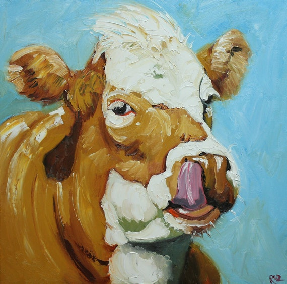 Print Cow 363 20x20 inch Print from oil painting by Roz