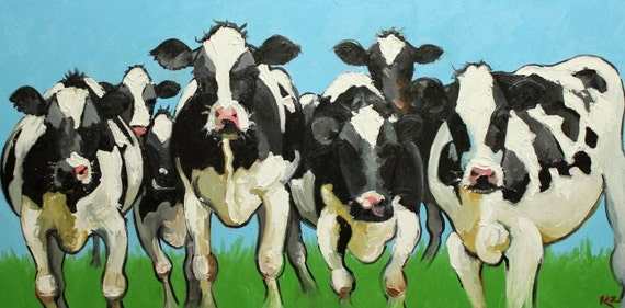 Cow painting 433 18x36 inch original oil painting by Roz