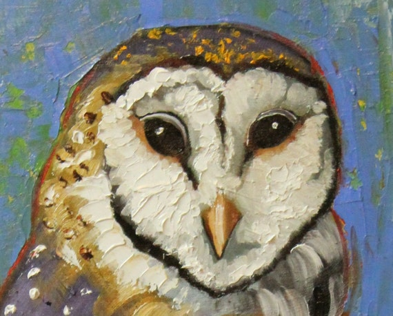 Owl painting 36 12x24 inch original oil painting by Roz