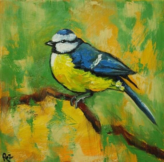 Bird painting 98 bird 12x12 inch portrait original oil painting by Roz