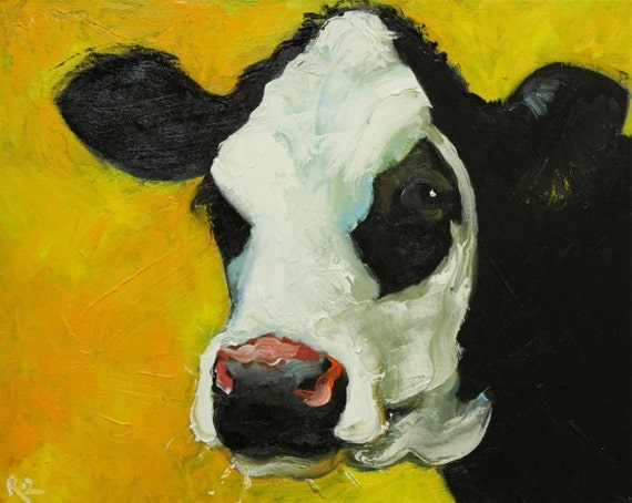 Cow painting 478 16x20 inch original oil painting by Roz