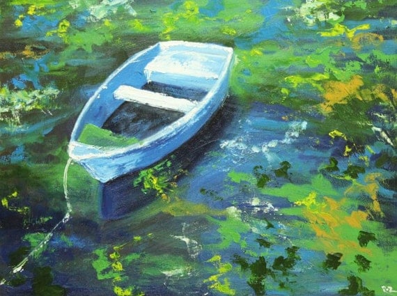 Boat painting 32 18x24 inch original landscape impressionistic oil painting by Roz