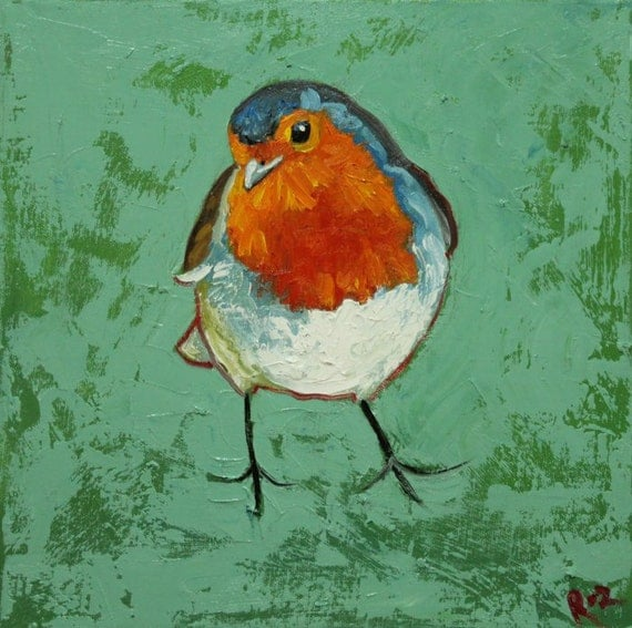 Bird 116 Robin portrait 12x12 inch original oil painting by Roz