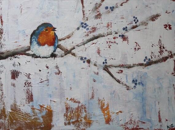 Bird 120 Robin 18x24 inch original oil painting by Roz