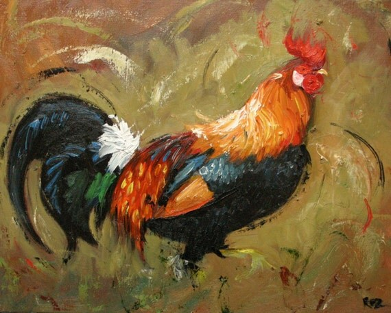 Rooster 371 16x20inch original oil painting by Roz