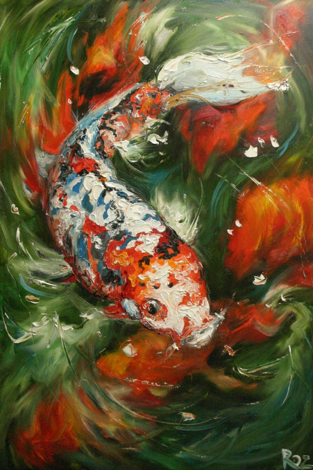 Koi15 16x24inch print of oil painting by roz for Japanese koi carp paintings