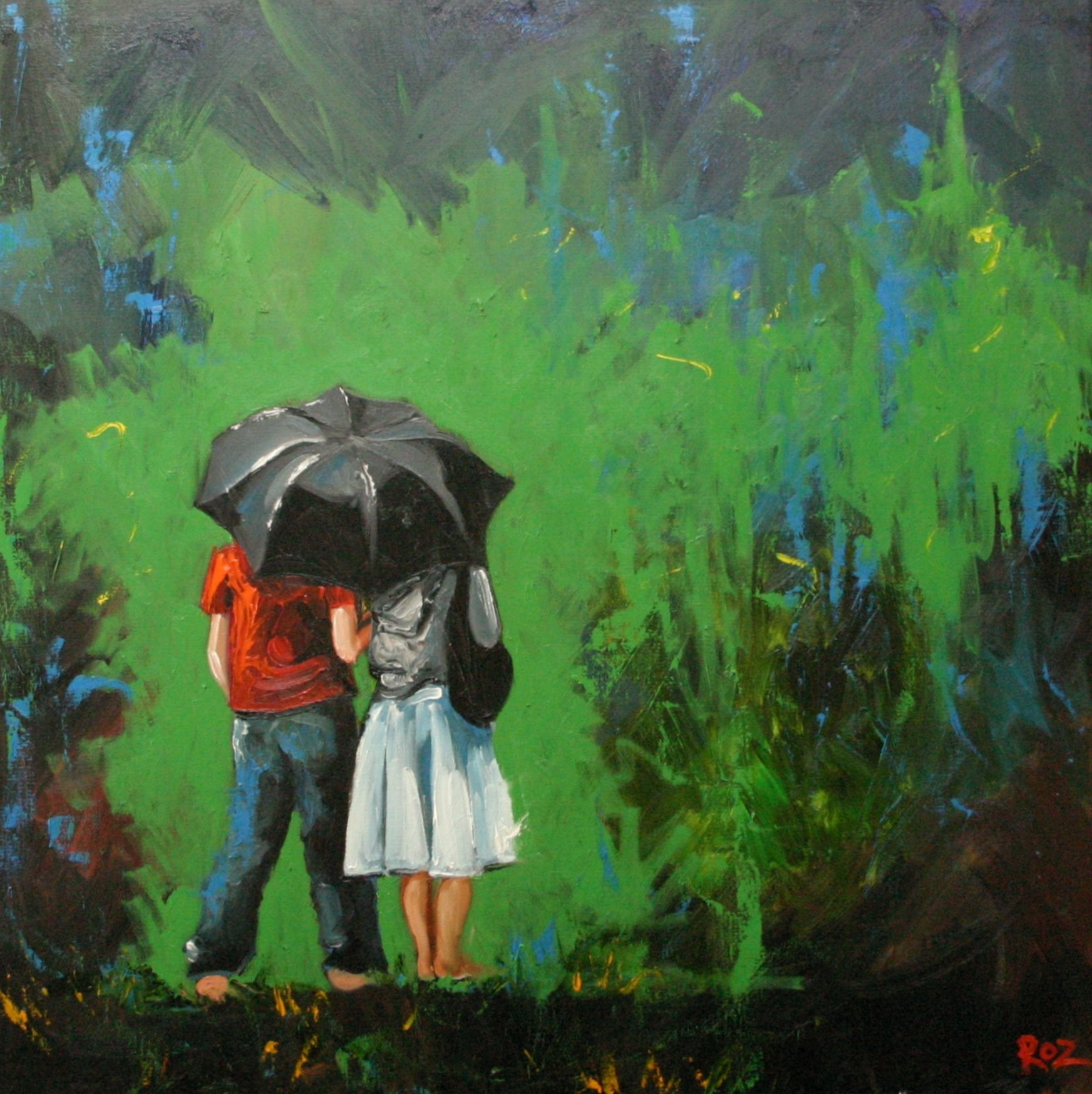 Couple 1 30x30inch Original Oil Painting By Roz SALE