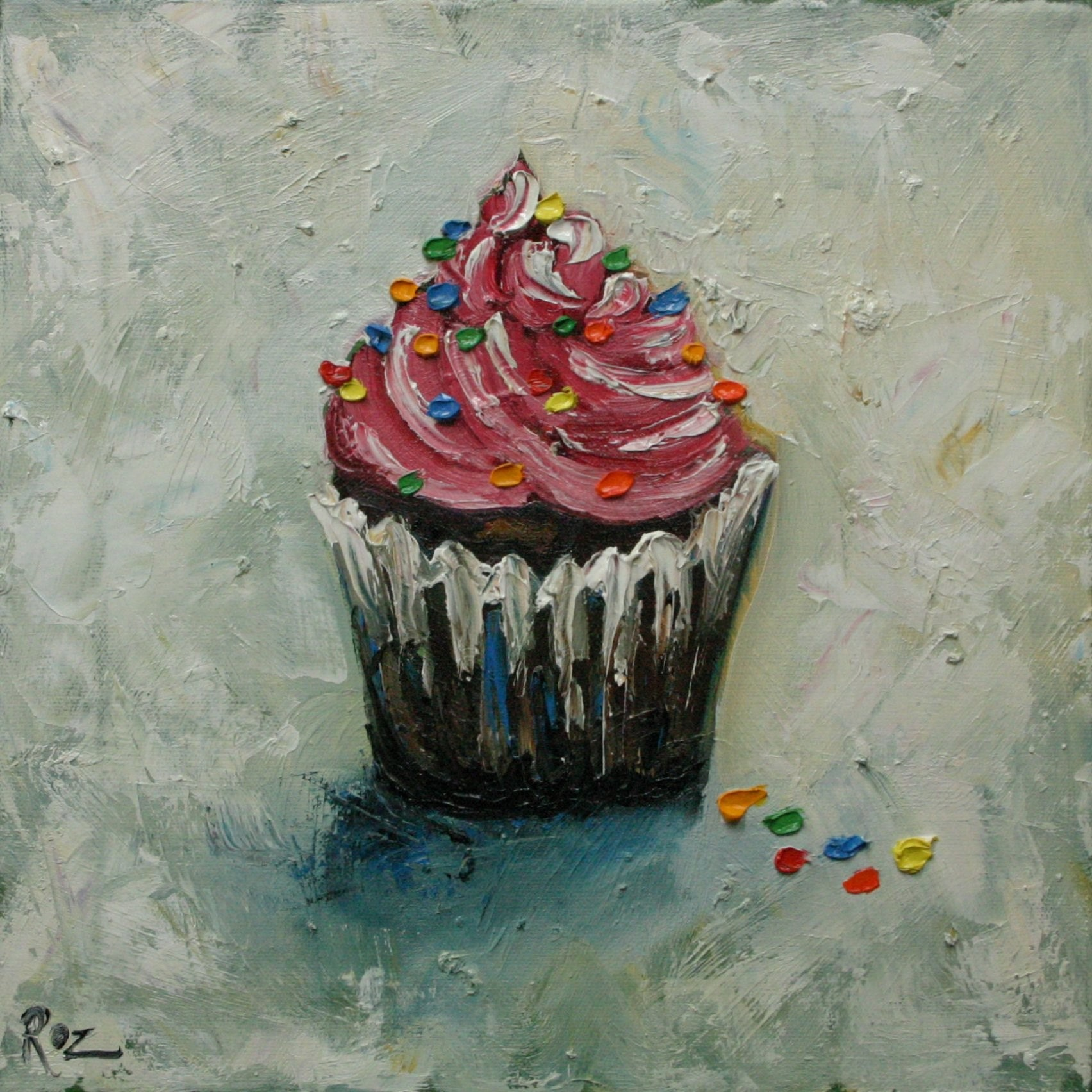 Cupcake 70 12x12inch original oil painting by roz by rozart for What paint for canvas