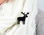 Black Reindeer Brooch Pin,Christmas Jewelry