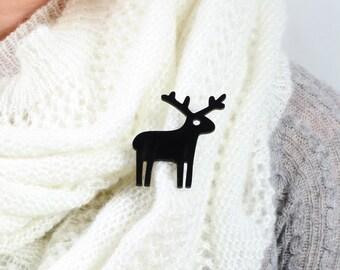 Black Reindeer Brooch Pin,Christmas Jewelry