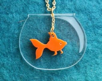 Goldfish Bowl Kawaii Necklace, Gold fish Necklace, Fish Necklace, Goldfish Charm Necklace, Good Luck Necklace, Bridesmaid Necklace