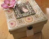 Cream square trinket box
