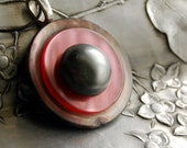 Pink Vintage Button Necklace, Gray Mother of Pearl Button Jewelry Eco Friendly Pendant