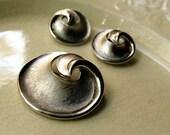 Vintage Jewelry Crown Trifari Silver-Tone Swirl Brooch and Earrings, Vintage 1960s