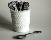 Vintage Souvenir Spoons Demitasse Spoons w/ States, Vintage Hobnail Milk Glass Toothpick Holder