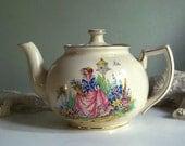 Vintage Teapot Arthur Wood Ceramic Teapot Shabby Chic with Garden Scene