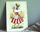 Vintage Embroidered Postcard, Woman in Folk Costume, from Spain / Etsy Black Friday, Etsy Cyber Monday